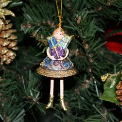 Christmas Miniature Angel Ornament - Indigo