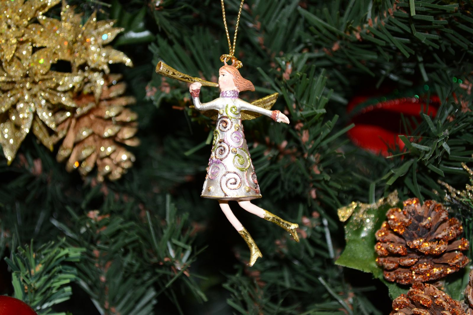 miniature champagne christmas angel ornament