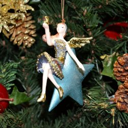 Angel Christmas Ornament with blue star